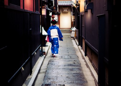 Geisha delivering the daily post in Kyoto